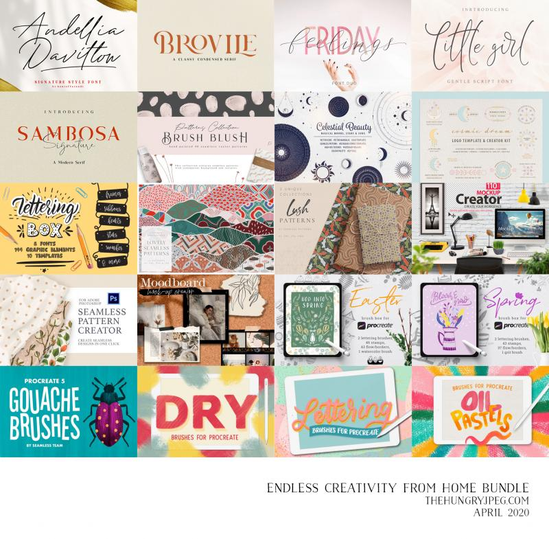 Endless Creativity From Home bundle, at The Hungry JPEG.